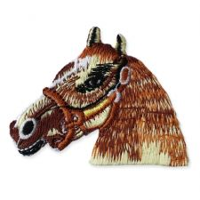 HORSE HEAD MOTIF IRON ON EMBROIDERED PATCH APPLIQUE